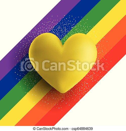 serce, złoty, tęcza, tło, pasiasty, 3d - csp64884639