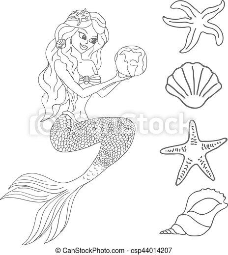 sereia, branca, vetorial, isolado, fundo - csp44014207
