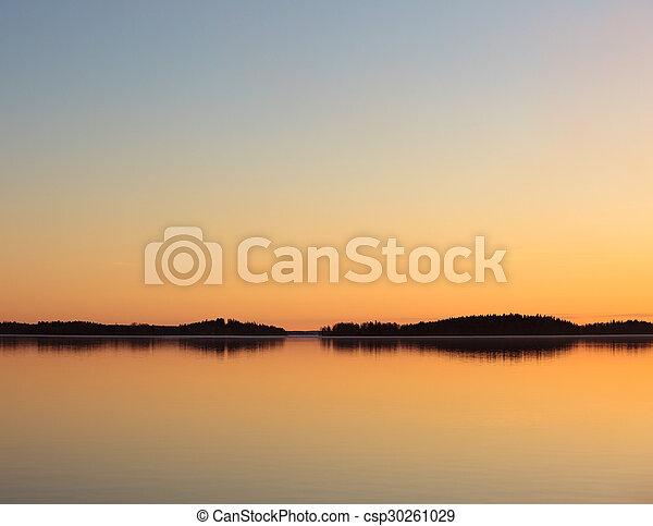 Serene lake view at dusk - csp30261029