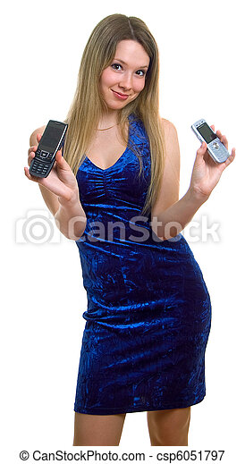 serenity girl with two cellular phones - csp6051797