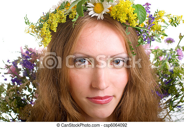 serenity young women with flowers - csp6064092