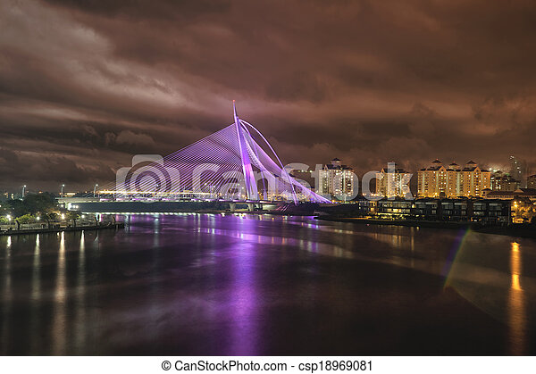 Seri Wawasan Bridge at Night - csp18969081