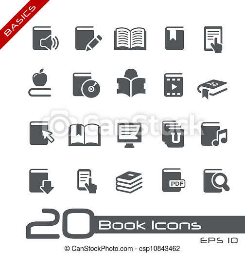 //, serie, basi, libro, icone - csp10843462