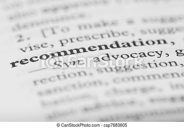 serie, -, dizionario, raccomandazione - csp7683605