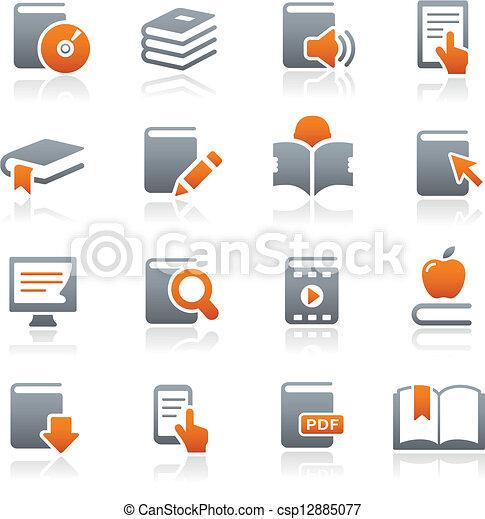 //, serie, libro, grafito, iconos - csp12885077