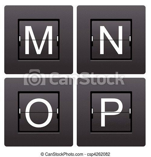 Cartas M a P del marcador mecánico - csp4262082