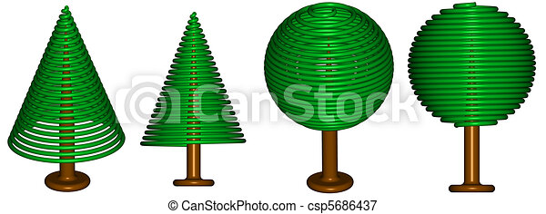 Serie of rendered trees - csp5686437