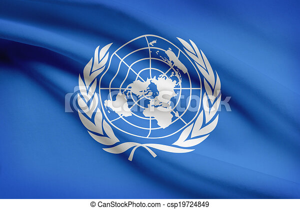 Series of ruffled flags. United Nations. UN. - csp19724849