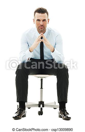 serio, silla, hombre de negocios, sentado - csp13009890