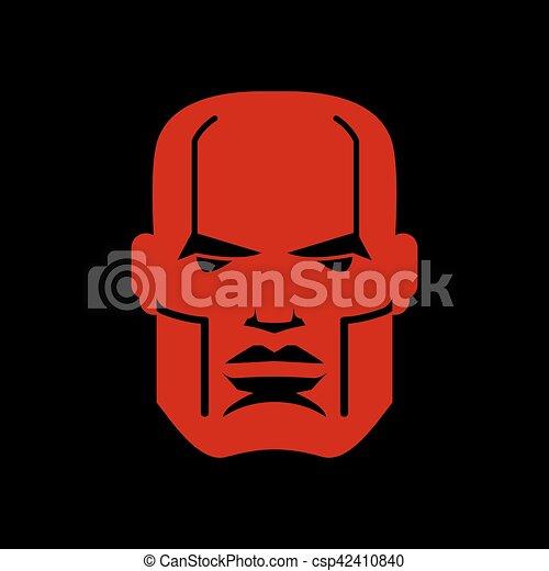 Serious face logo. Man head emblem. Red manly mask - csp42410840