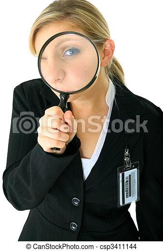 Serious Female Caucasian Investigating You - csp3411144
