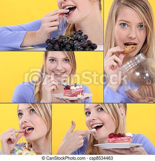 serious of snapshots showing sweet tooth girl - csp8534463