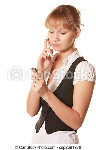 Serious woman with phone and watch - csp2691978