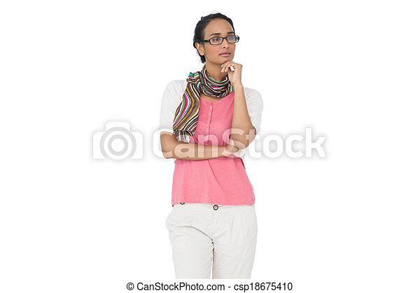 Serious young woman looking away - csp18675410
