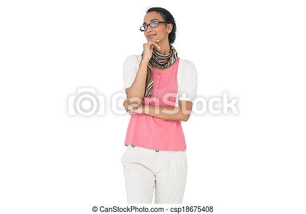 Serious young woman looking away - csp18675408