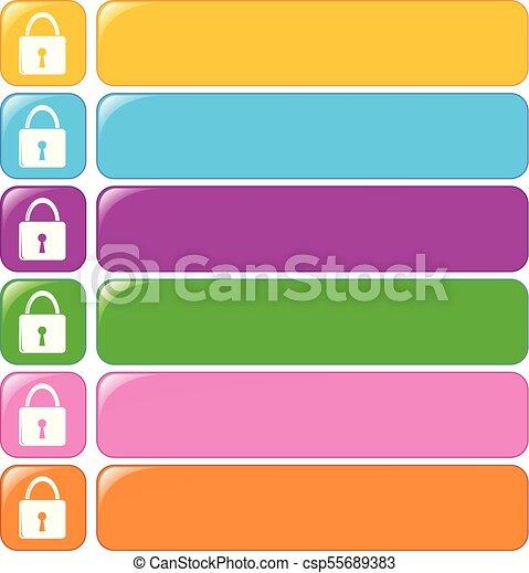 serrure, symbole, bannière, gabarit - csp55689383
