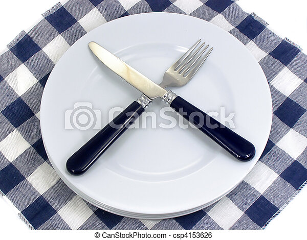 served table for eating in cafe - csp4153626