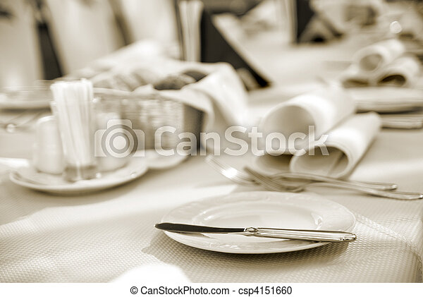 served table in restaurant - csp4151660