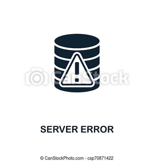 Server Error icon. Monochrome style design from big data icon collection. UI. Pixel perfect simple pictogram server error icon. Web design, apps, software, print usage. - csp70871422