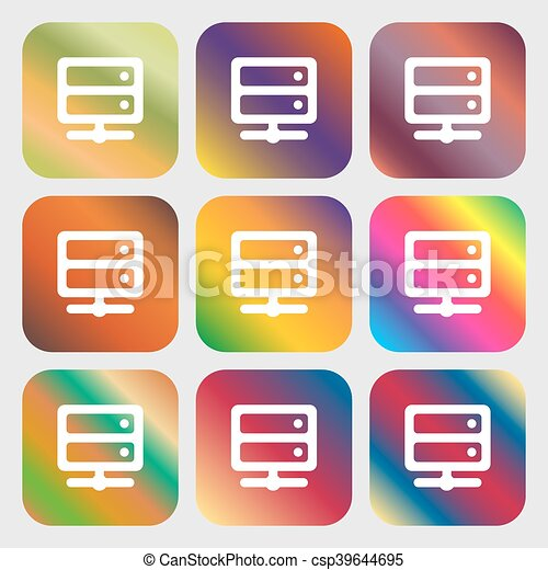Server icon  Nine buttons with bright gradients for beautiful design  Vector