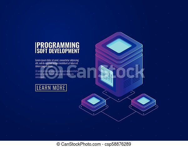 Server room icon, processing of big data, futuristic datacenter, networking and network connection, data transmission isometric vector - csp58876289