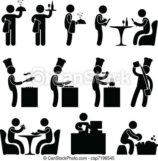 serveur, chef cuistot, client, restaurant - csp7196545