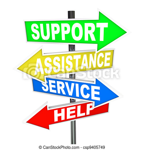 Service Assistance Support Help Arrow Signs Point to Solution - csp9405749