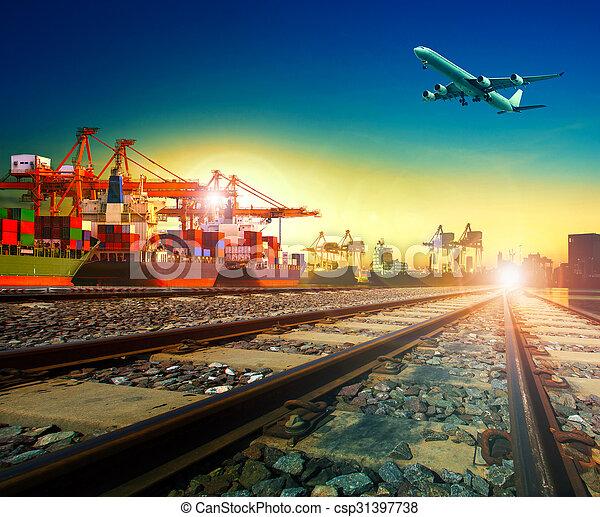 service, cargaison, usage, transport, au-dessus, business, voler, expédition, port, avion, exportation, fret, importation, ferroviaire, logistique, transport - csp31397738