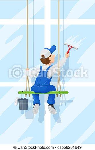 service., character., cartone animato, pulizia finestra, washer. - csp56261649