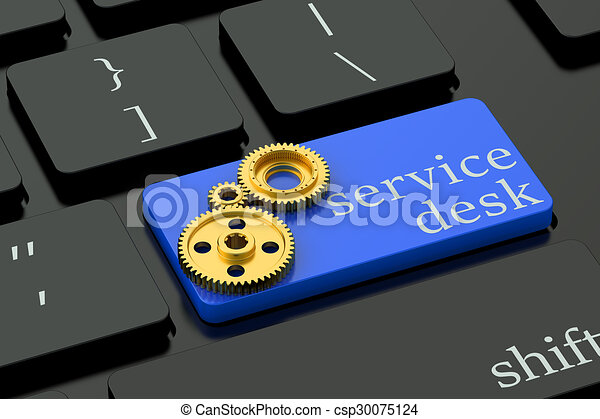 Service Desk concept on blue keyboard button - csp30075124