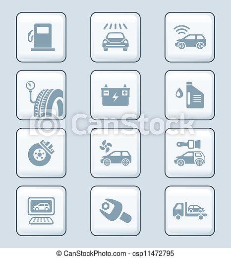 service, icônes, série, technologie, voiture, | - csp11472795