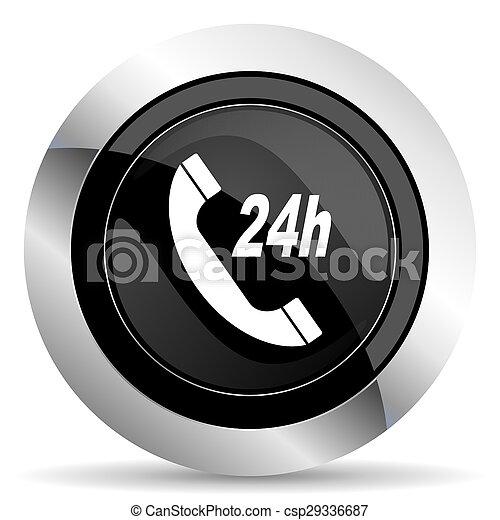 service icon, black chrome button - csp29336687