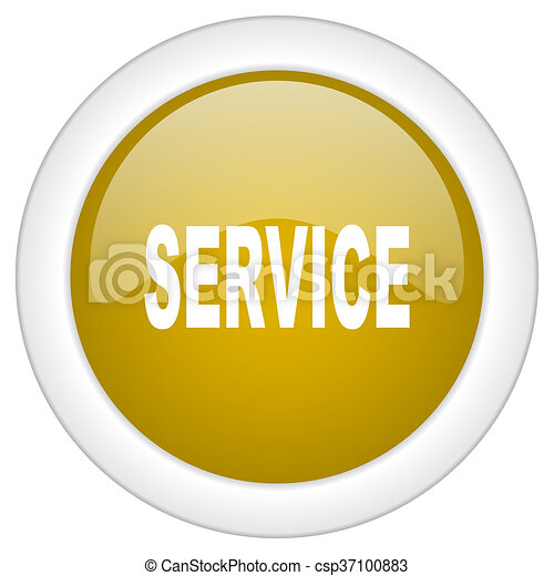 service icon, golden round glossy button, web and mobile app design illustration - csp37100883