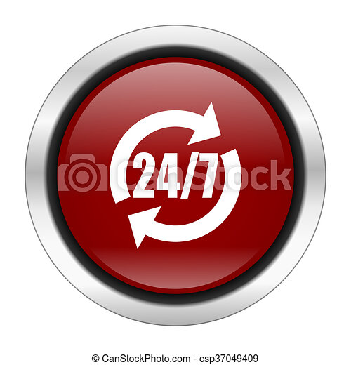 service icon, red round button isolated on white background, web design illustration - csp37049409
