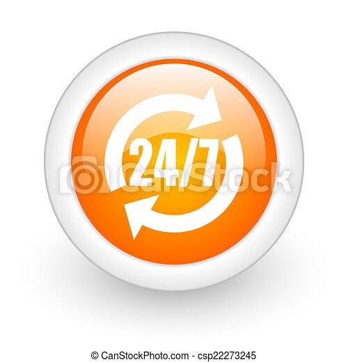 service orange glossy web icon on white background - csp22273245
