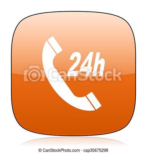 service orange square web design glossy icon - csp35675298