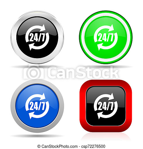 Service red, blue, green and black web glossy icon set in 4 options - csp72276500