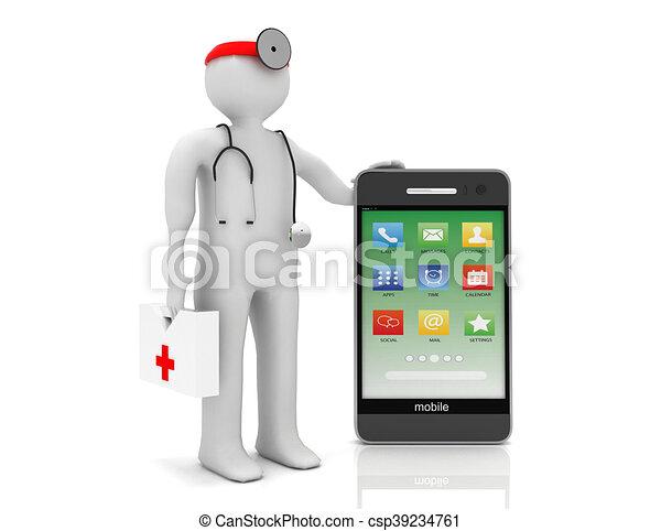 service, téléphone, image, isolé, arrière-plan., blanc, 3d - csp39234761