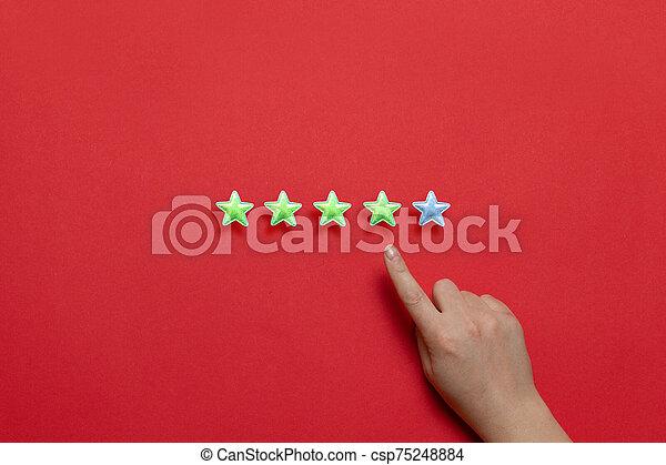 services., évaluation, rating., approvisionnement, cinq, étoiles, service clientèle, arrière-plan rouge - csp75248884