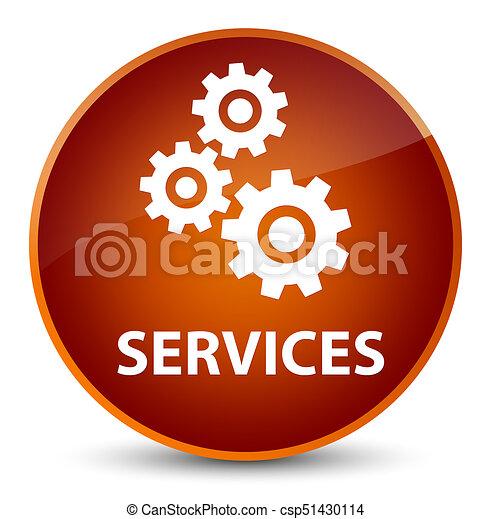 Services (gears icon) elegant brown round button - csp51430114