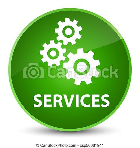 Services (gears icon) elegant green round button - csp50081941