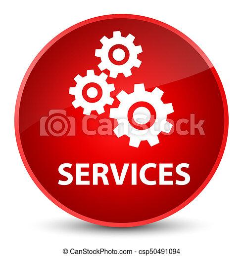 Services (gears icon) elegant red round button - csp50491094