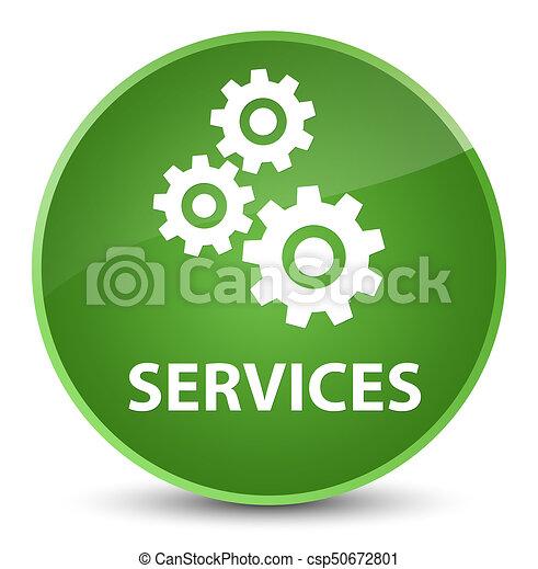 Services (gears icon) elegant soft green round button - csp50672801