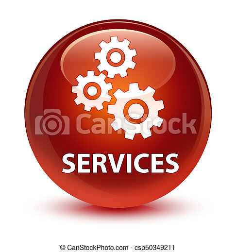 Services (gears icon) glassy brown round button - csp50349211