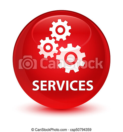 Services (gears icon) glassy red round button - csp50794359