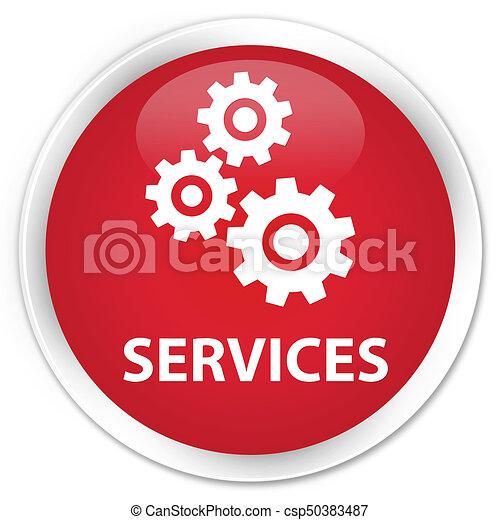Services (gears icon) premium red round button - csp50383487