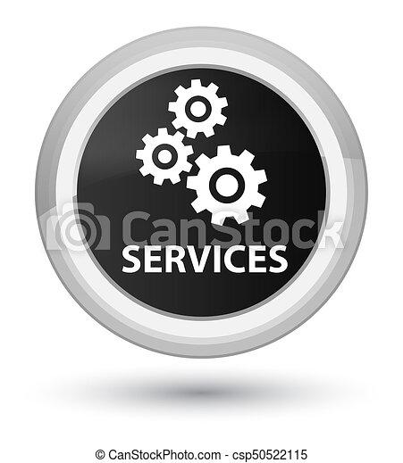Services (gears icon) prime black round button - csp50522115