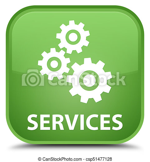 Services (gears icon) special soft green square button - csp51477128