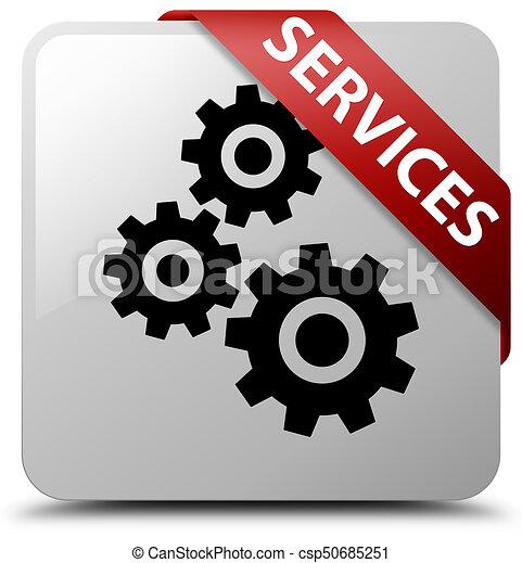 Services (gears icon) white square button red ribbon in corner - csp50685251