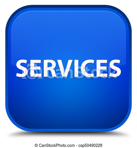Services special blue square button - csp50490228
